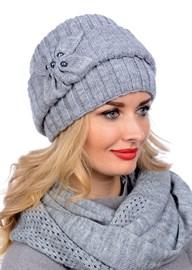 Вязаная шапка-кубанка ТД-404 серый меланж Сиринга-стиль