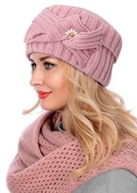 Вязаная шапка-кубанка ТД-405 розовая