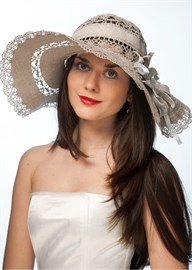Летняя широкополая шляпа Л-182 серая