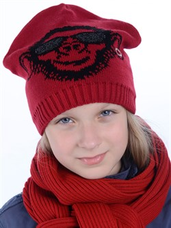 Вязаная шапка ТД-396 красная - фото 12195