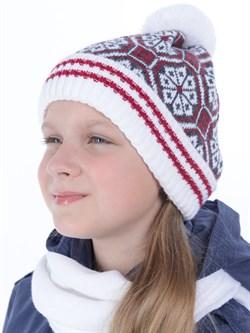 Вязаная шапка ТД-384 белый-красный-серый - фото 12223