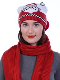 Новогодняя шапка ТД-462 красный-молочный - фото 12768