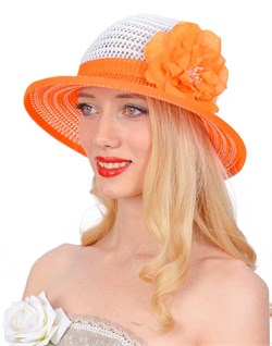Шляпа летняя ТЛ-255 белый/оранжевый 1