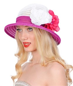 Шляпа летняя ТЛ-255/2 белый/цикламен 1