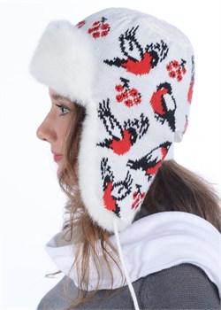 Ушанка женская З-287-2 белая-красная Сиринга-стиль