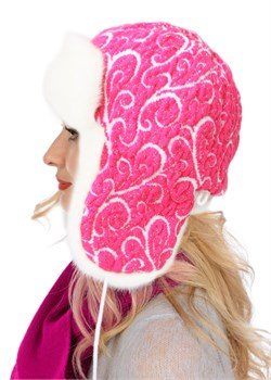 Ушанка женская З-287/6 розово-белая Сиринга-стиль