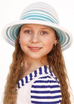 Шляпка детская летняя Дети/Л30 белый-бирюза Сиринга-стиль