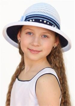 Детская летняя шляпка Дети/Л31/1 белый-синий-голубой Сиринга-стиль