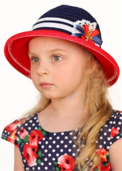 Шляпка детская летняя Дети/Л33/1 красный-синий-белый  Сиринга-стиль
