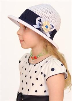 Шляпка детская летняя Дети/Л35/1 белый-синий Сиринга-стиль