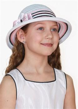 Шляпка детская летняя Дети/ТЛ-40 белый-черный-розовый Сиринга-стиль