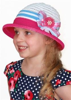 Детская летняя шляпка Дети/ТЛ-43/1 малиновый-белый-голубой - фото 7019