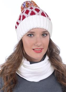 Вязаная шапка ТД-337 красно-белая - фото 8097