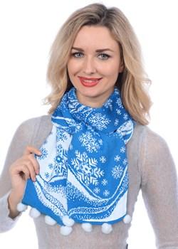 Новогодний шарф ТД-415А голубой - фото 8123