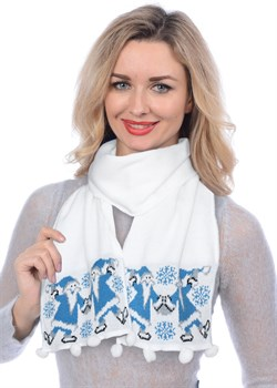 Новогодний шарф ТД-284А белый-голубой - фото 8125