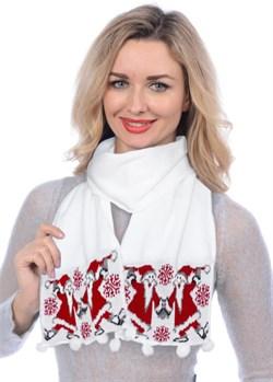 Новогодний шарф ТД-284А белый-красный - фото 8127