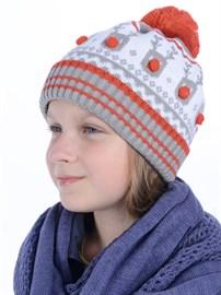 Вязаная шапка ТД-394 серый-коралловый