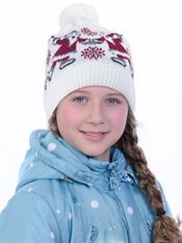 Новогодняя шапка ТД-226/2 белая-красная
