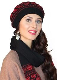 Комплект из берета и шарфа ТД-310К черный-коралл Сиринга-стиль