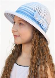 Шляпка детская летняя Дети/ТЛ37 белый-голубой Сиринга-стиль