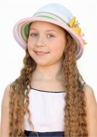 Шляпка детская летняя Дети/ТЛ-38/1 белый-зеленый-оранжевый Сиринга-стиль