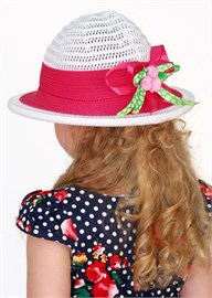 Шляпка детская летняя Дети/ТЛ-41 белый-красный Сиринга-стиль 2