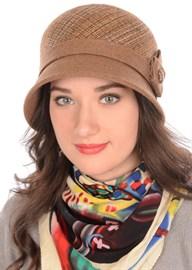 Шляпа Д-562/1А бежево-коричневая/светло-коричневая